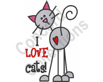 I Love Cats! - Machine Embroidery Design