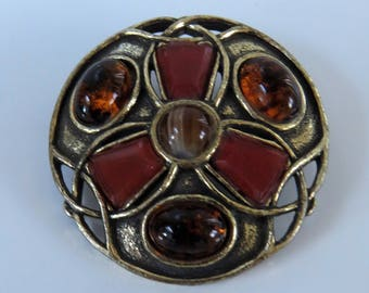 Vintage Signed Miracle Scottish Brooch with Faux Agate and Amber Glass Cabouchons