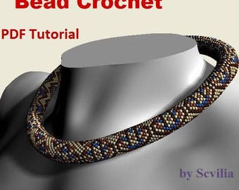 Bead crochet rope pattern for beading necklace «Embroidery» Instant Download