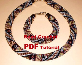 "Bead Crochet rope pattern necklace and bracelet ""Flower patchwork"" Instant Download"