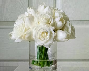 Valentine's Day gift-Real Touch Tulips & Roses-Faux Floral Arrangement-White Tulips-Silk faux arrangement-White Fake flowers-Valentine's Day