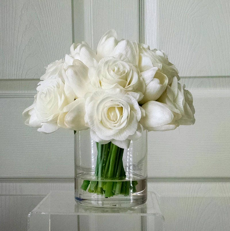 Real Touch Flowers Centerpiece-Real Touch Tulips & Roses-Faux Floral Arrangement-White Tulips-Silk faux arrangement -White Fake flowers
