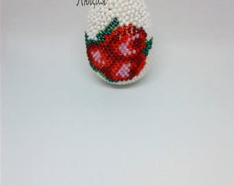 "Easter egg. Egg of beads ""Bouquet"". Easter day gift. Easter egg handmade bead. Easter bead crochet eggs."