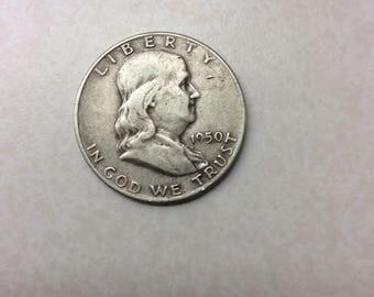 1950 D Silver Franklin Half Dollar