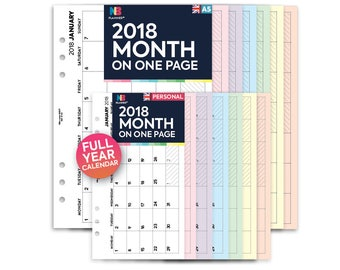 PRINTED 2018 Month on one page Insert A5 / Personal Filofax A5 Kikki.K Large Compatible Refill Coloured