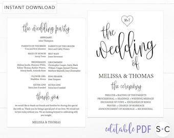 Rustic Wedding Program Template, Wedding Program, Program, Order of Ceremony, Ceremony  Program, Wedding Programs, Program Template