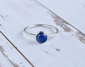 Lapis Lazuli Ring 925 - Sterling Silver Stacking Ring - Blue Stone Ring - Wisdom, Problem Solving, Creativity