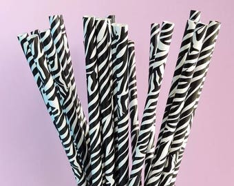Zebra Print Paper Straws Pk of 25 / Jungle African Safari Party / Wildlife Party Straws / Bridal Shower / Baby Shower / Birthday