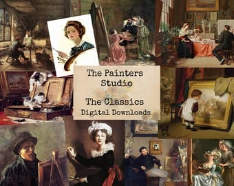 The Painters Studio - Digital Ephemera Classics, Digital Images, Vintage Art, Instant Download, Digital Paper, Digital Collage