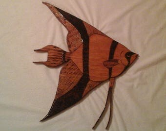 Angel Fish Wood Burned Plaque