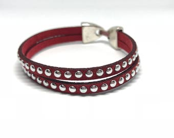 Bracelet double suede and silver studs