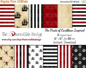 50% OFF SALE Pirate of Caribbean Inspired digital paper pack for scrapbooking, Making Cards, Tags and Invitations, Instant Download