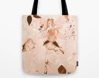 Pink Rose Tote Bag, Fairy reusable canvas bags , fashion Tote Bags, Pink fairy Bag, canvas tote, illustrated tote, Rose Tote Bag, Pixie tote