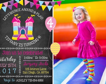Elegant GIRL Bounce House Invitation with Photo! Let's Bounce! Digital File. Print at Home.