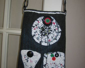 Tote bag, bag from rubber with drawer and recycled plastic bags, pockets crocheted Heather white/red/black