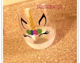 Unicorn Stemless wine glass