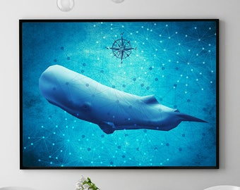 Sperm Whale Print, Whale Painting, Marine Wall Art Decor, Ocean Poster, Coastal Decor, Home Decorations, Bathroom (N417)