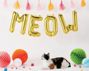 "MEOW Letter Balloons | 16"" Gold Letter Balloons 