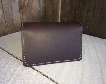 Genuine Leather Business Card Holder / Bifold Wallet - Free Shipping - Amish Handmade - Bulk Discounts - Made in USA - Dark Brown