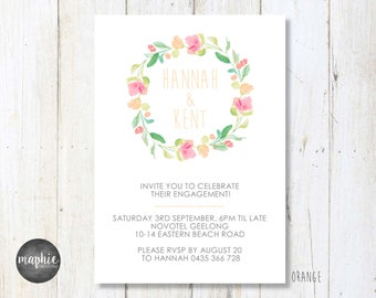 Engagement Invitation A6, Floral Wreath