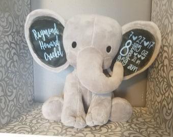 Birth stats elephant baby keepsake personalized elephant personalized baby stats elephant plush stuffed animal nursery decor bringing home baby negle Images