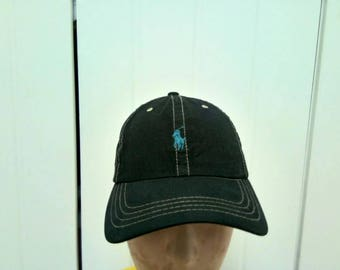 Rate Vintage POLO RALPH LAUREN Leather Adjustable Cap Hat Free Size Fit All