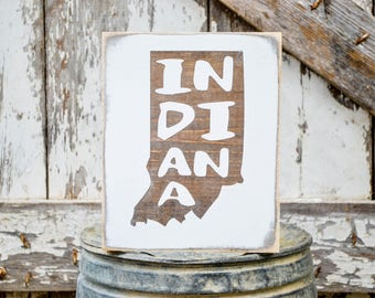 Indiana Wood State Sign   Rustic Decor   Wood Sign   Country Home   Wall Hanging   Farmhouse Decor   Whitewash   Home State Sign