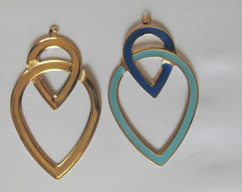 Large geometric charm - 2 drops intertwined - blue painted metal