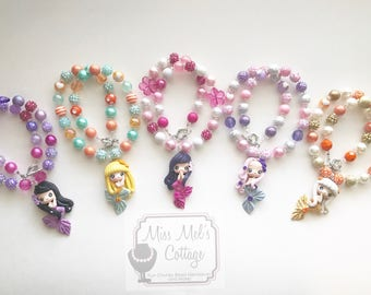 Gorgeous Handmade Clay Mermaid Mini 12mm Bubblegum Beads Necklace Choose favorite color