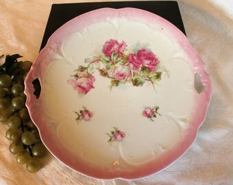 """Antique Porcelain 10.25"""" Handled Cookie Plate - Pink Roses with Pink Embossed Rim, Victorian"""