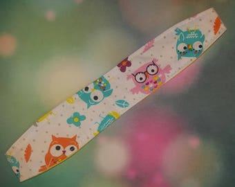 Reversible Fabric Headband Owls and Yellow Print - Monogram Option Available