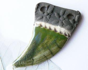 Raku pendant claw prints decor and dark green enamel, unique piece