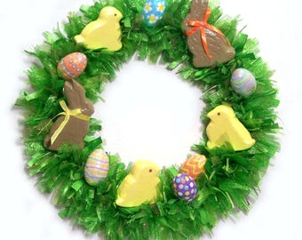 Easter Wreath Green Grass Bunny Rabbits Eggs Peeps Chicks Front Door Decor