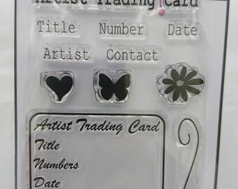 ATC / Artist Trading Card info A7 stamp set by Imagine Design Create