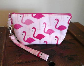 Pretty Pink Flamingo Wristlet Pouch