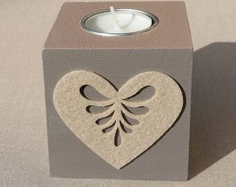 Taupe, beige heart decor wooden Square candle holder