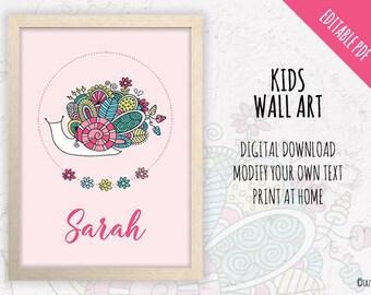 Cute Pink Snail Wall Art | EDITABLE TEXT | Instant Digital Download | Original Doodle Design