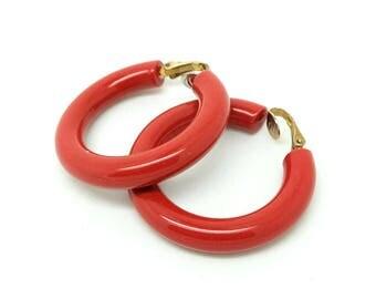 Vintage 1960s Hoop Earrings | Plastic Hoop Earrings | Clip on Hoop Earrings | 1960s Hoop Earrings | Vintage Hoop Earrings | Vintage Hoops