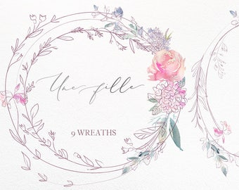 Une Fille Pink Purple Watercolor Floral Hand Drawn Wreaths  Flowers Peonies Clipart Set Wedding Clip Art Feminine Logo Design Wedding Invite