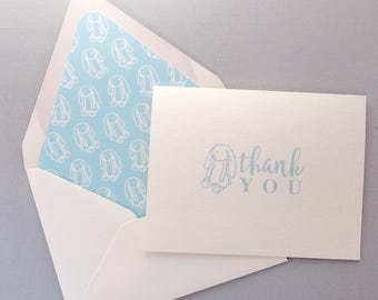 Baby Blue Bunny Thank You Cards - Children's Thank You Card - Bunny Rabbit Love - Blue Bunny Stationery