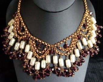 1940s Baroque 'Pearl' and Purple Glass Bead Bib Necklace