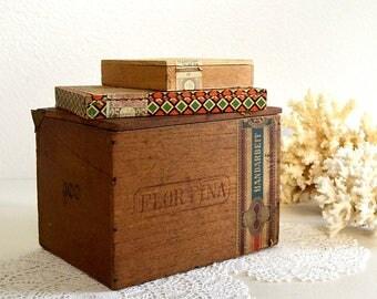 vintage lot of THREE cigar boxes German cigar boxes collectible cigar boxes