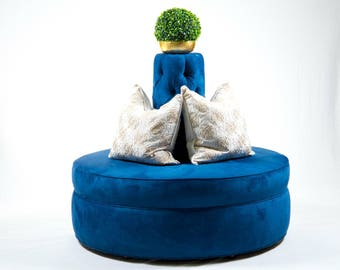 Royal Blue passion suade tufted cone circle round settee sofa banquette hair salon spa clothing store