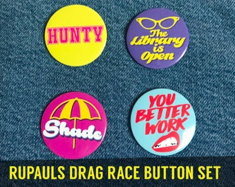 RUPAUL'S DRAG RACE Button Set -  lgbt Drag Queen Hunty Shade Gay Lesbian Trans reading library reality alaska bianca pinback