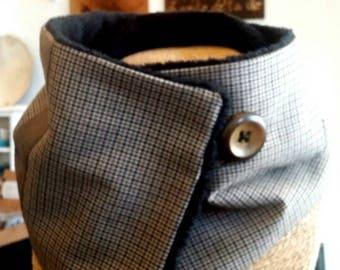 Men Brown tweed neck scarf collar