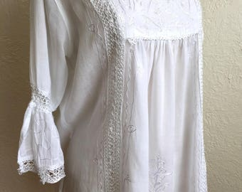 White Hippie Boho Long Sleeve Blouse.  Size 12