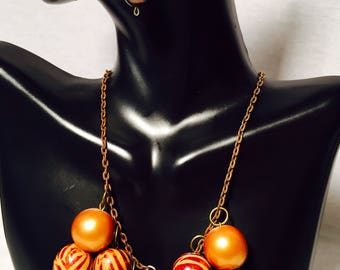Bronze Brown Animal Print Beaded Necklace