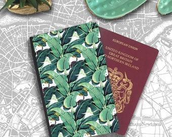 Banana Leaf Tropical Fruit Artwork Painting Draw  Passport Holder Travel Flip Cover Case PT106