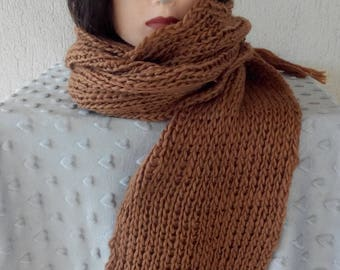 Very long Brown wool scarf