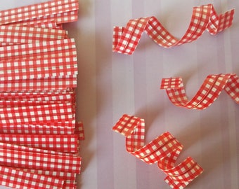 Set of 10 ties (ties) gingham red for packing your
